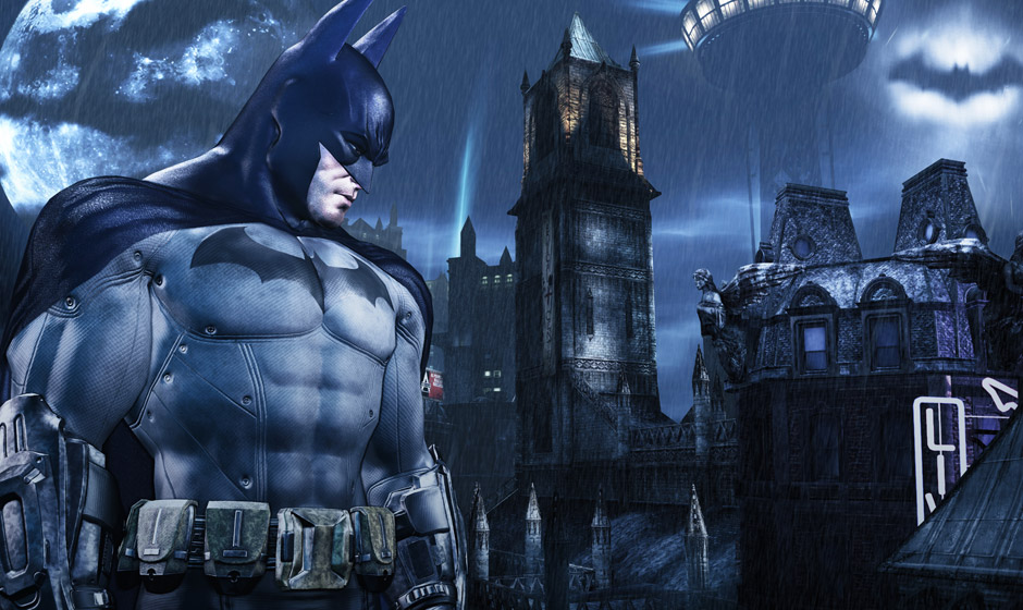 The Bat symbol is beamed above the rain-lashed rooftops of Arkham City.