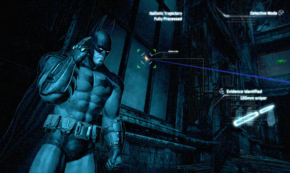 Batman uses Detective Mode to locate a sniper.