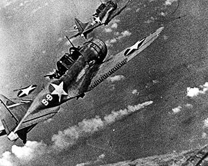 SBDs approach the burning Mikuma (Center).