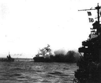 An explosion aboard US Lexington