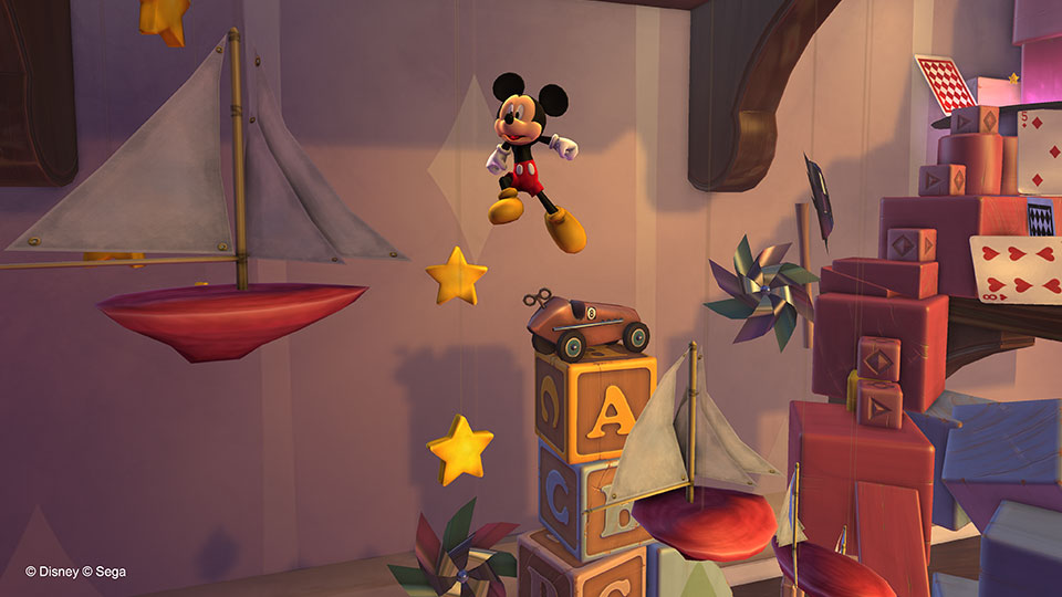 Ahoy! Mickey sails through the air as he leaps between floating boats.