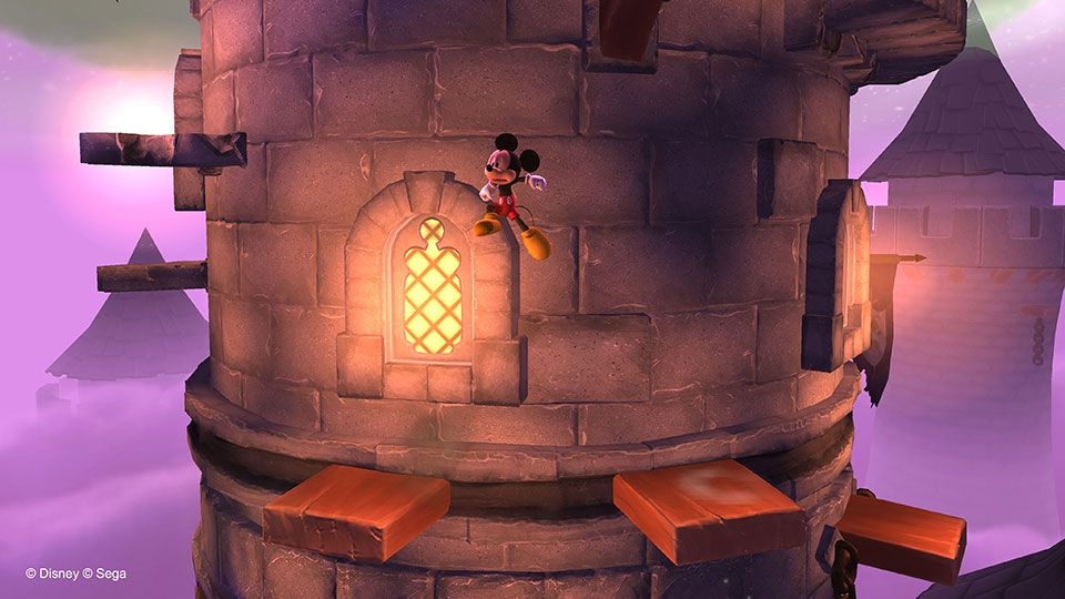 Those platforms won't stand still, but that doesn't stop Mickey from reaching new heights!