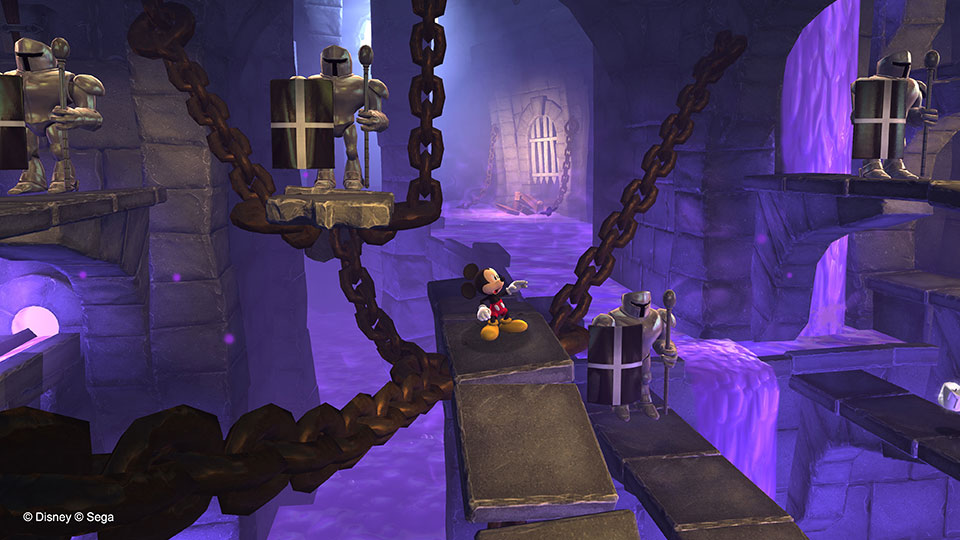 Deep in the castle's dungeons, Mickey comes across some seemingly empty suits.