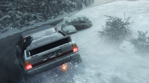 An Audi Sport Quattro Rally tucks itself into a snowy corner at Monte Carlo.