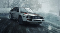 An Audi Sport Quattro Rally slides out of an icy corner at Monaco.