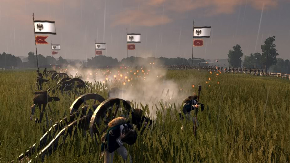 A Prussian artillery battery opens fire on French infantry to devastating effect.