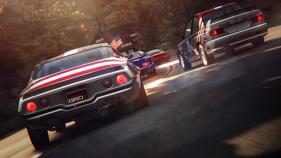A tightly-packed grid of all-American muscle fights hard for position in a sharp bend.