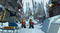Fred and George Weasley in the village of Hogsmeade. Can a LEGO snowman melt?