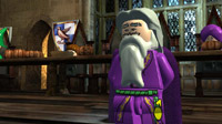 LEGO Dumbledore addresses the students in the Great Hall at Hogwarts.