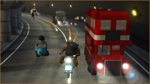 Harry and Hagrid race past a red London bus to get away from Death Eaters