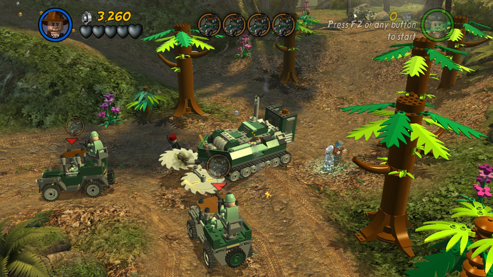 Four enemy trucks to take down, and you're in a tank with rotating blades. Time to bust some bricks!
