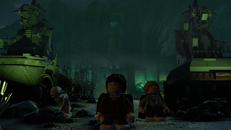 Gollum leads Frodo and Sam through the deserted city-fortress of Minas Morgul.