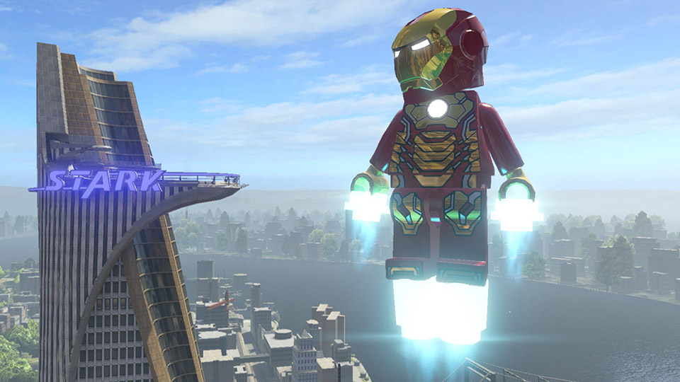 Iron Man uses his repulsors to watch over New York from above.