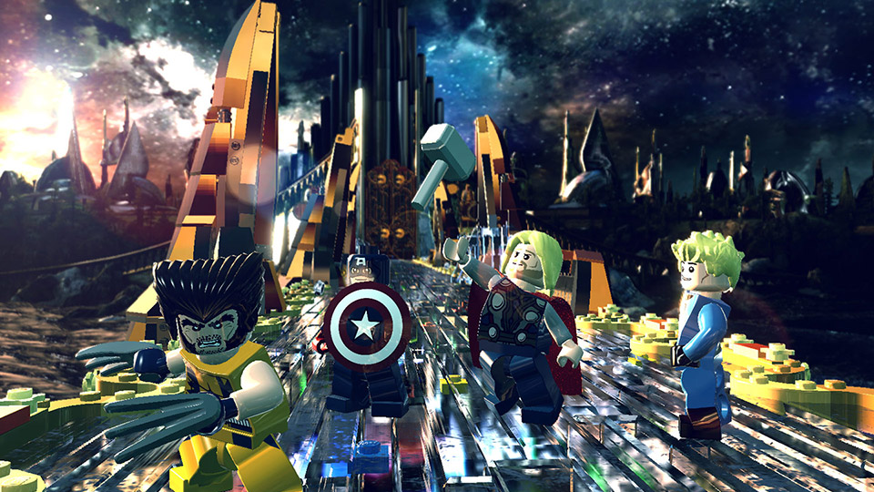 The heroes' pursuit of the Cosmic Bricks leads them to Asgard, home of Thor.