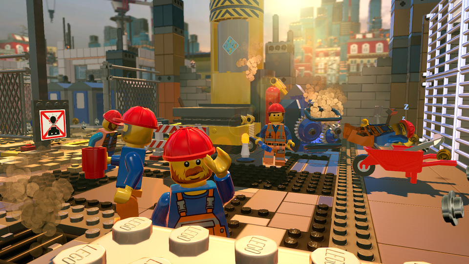 Emmet and his fellow construction workers enjoy another awesome day at the Bricksburg construction site.