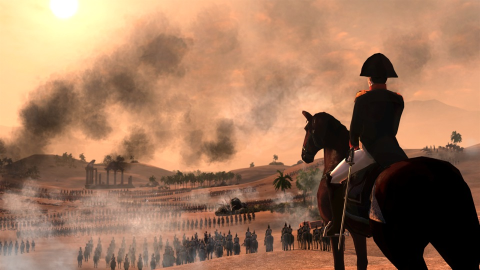 As the sun begins to set over Egypt, Napoleon Bonaparte surveys his battle formations.