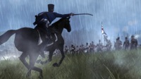 A French hussar charges uphill towards british ranks through driving rain. Brave, but probably futile.