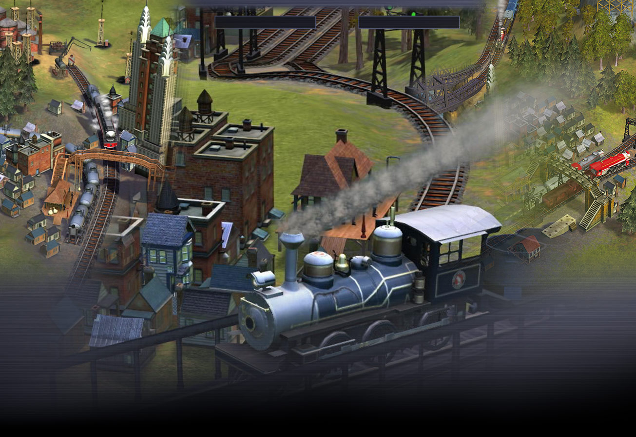 Train travelling over a brigde with a town in the backrgound