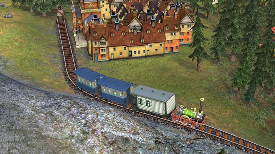 A Patentee engine takes 19th century travellers on a scenic journey through the English countryside.
