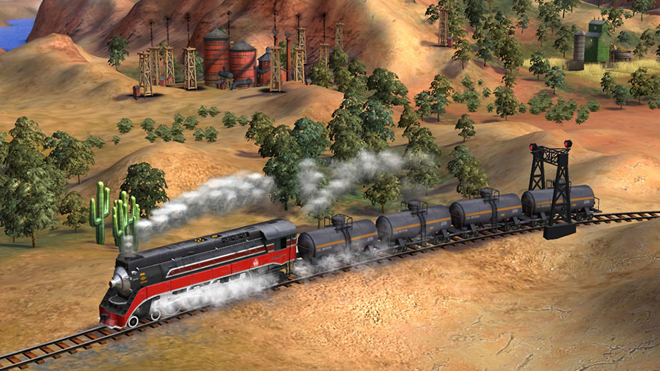 A Golden State engine hauls oil past mesas in the south-western United States.