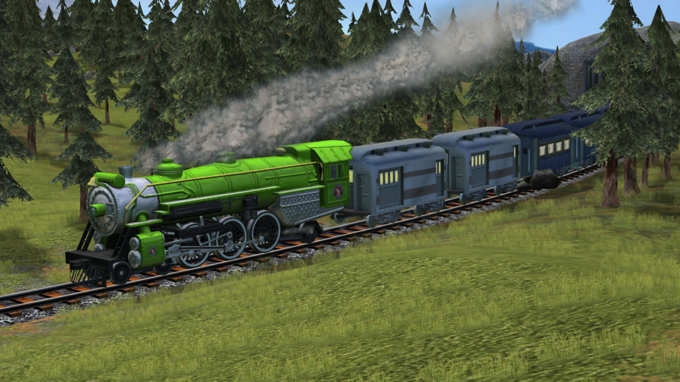 A handsome 2-8-2 Class 141 steams through a pine forest.