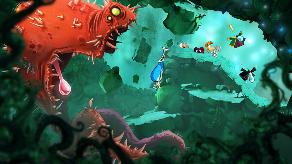 As Rayman and the Teensies slide to safety, Globox realises he's about to become plant food.
