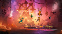 Rayman makes clever use of a wizard's beard to swing over some spikes.