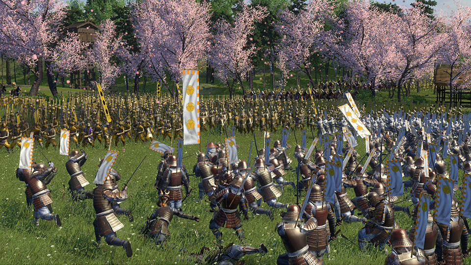 The brave Tokugawa lead a charge, even as they fall to arrows from hidden archers.