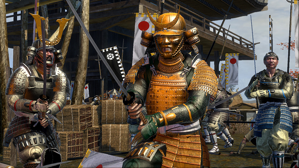 Clad in traditional armor, an elite katana-wielding demon-masked samurai battles opponents on all sides.