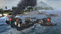 Firebombs and flaming arrows do great damage to wooden ships in a coastal battle.