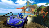 Sonic the Hedgehog racing up a hill