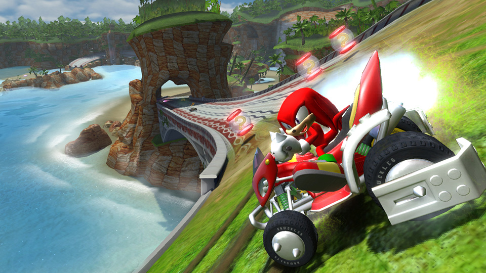 Knuckles shows how to drift like an Echidna.
