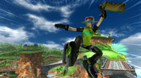 Jet Set Radio's Beat shows off a second set of wheels as he catches some serious air.