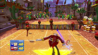Dr. Eggman's volley is distracted by Amigo's magical maracas, dancing around the court.