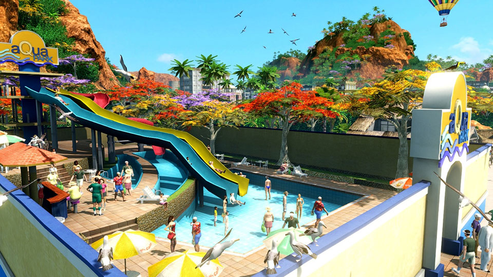 An aqua park lets tourists cool off after a hard day's sightseeing.