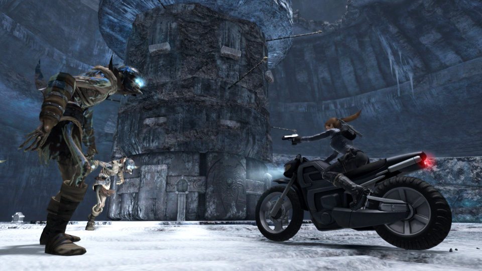 Lara targets a Viking Thrall with a pistol and aims for another with her bike.