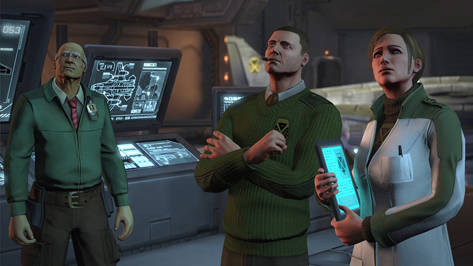 Dr. Shen, Central Officer Bradford and Dr. Vahlen oversee the XCOM headquarters' activities.