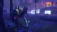 A heavily-armored muton lurks near its broken ride.