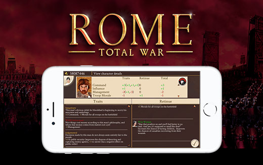 Hidden depths – ROME: Total War for iPhone puts character info at your fingertips