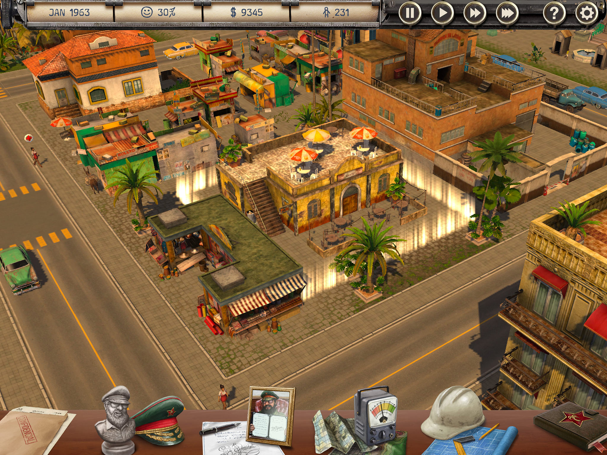Screen shot of Tropico for iPad's new Dictator's Desk